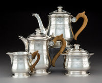 A Four-Piece Tetard Freres Silver Tea and Coffee Set, Paris, circa 1920 Marks: (Minerva) (T FRES-tureen) 7-3/8