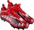 Football Collectibles:Others, 2017 Julio Jones Game Worn Atlanta Falcons Cleats - Used 1/1 vs. Saints. ...