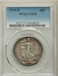 Walking Liberty Half Dollars: , 1918-D 50C VF25 PCGS. PCGS Population: (41/1147). NGC Census: (11/712). Mintage 3,853,040. ...