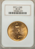 Saint-Gaudens Double Eagles, 1915-S $20 MS65 NGC....