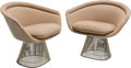 Furniture : American, Warren Platner (American, 1919-2006). Pair of Lounge Chairs,circa 1980, Knoll . Chromed steel, fabric. 30 x 36-1/2 x 25...(Total: 2 Items)