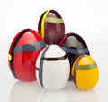 , Lino Tagliapietra (Italian, born 1934). Five Eggs, circa1982-1983, Oggetti. Glass. 10 inches (25.4 cm) (height, tal...(Total: 5 Items)