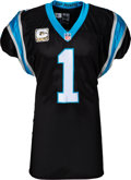 Football Collectibles:Uniforms, 2015 Cam Newton Game Worn & Signed Carolina Panthers Jersey--Photo Matched to Victory over Green Bay Packers....