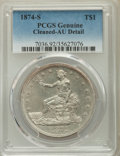 Trade Dollars, 1874-S T$1 -- Cleaned -- PCGS Genuine. AU Details. NGC Census: (10/313). PCGS Population: (33/413). CDN: $330 Whsle. Bid fo...