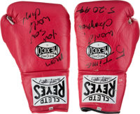 "1994 James ""Lights Out"" Toney Fight Worn Gloves from Roy Jones Jr. Bout from The James Toney Collection"