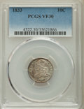 Bust Dimes: , 1833 10C VF30 PCGS. PCGS Population: (35/452). NGC Census: (12/284). Mintage 485,000. ...