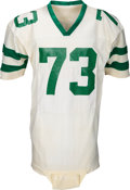 Football Collectibles:Uniforms, 1981 Joe Klecko Game Worn New York Jets Jersey - Photo Matched with Intriguing Yankees Flannel Hand Warmer!...