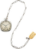 Timepieces:Pocket (post 1900), Paul Ditisheim Platinum Watch With Unusual Gold Chain. ...