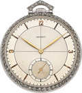 Timepieces:Pocket (post 1900), Agassiz Platinum & Diamond Pocket Watch, circa 1920. ...