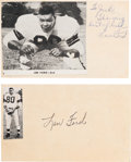 Football Collectibles:Others, 1960's Len Ford Signed Index Cards Lot of 2....