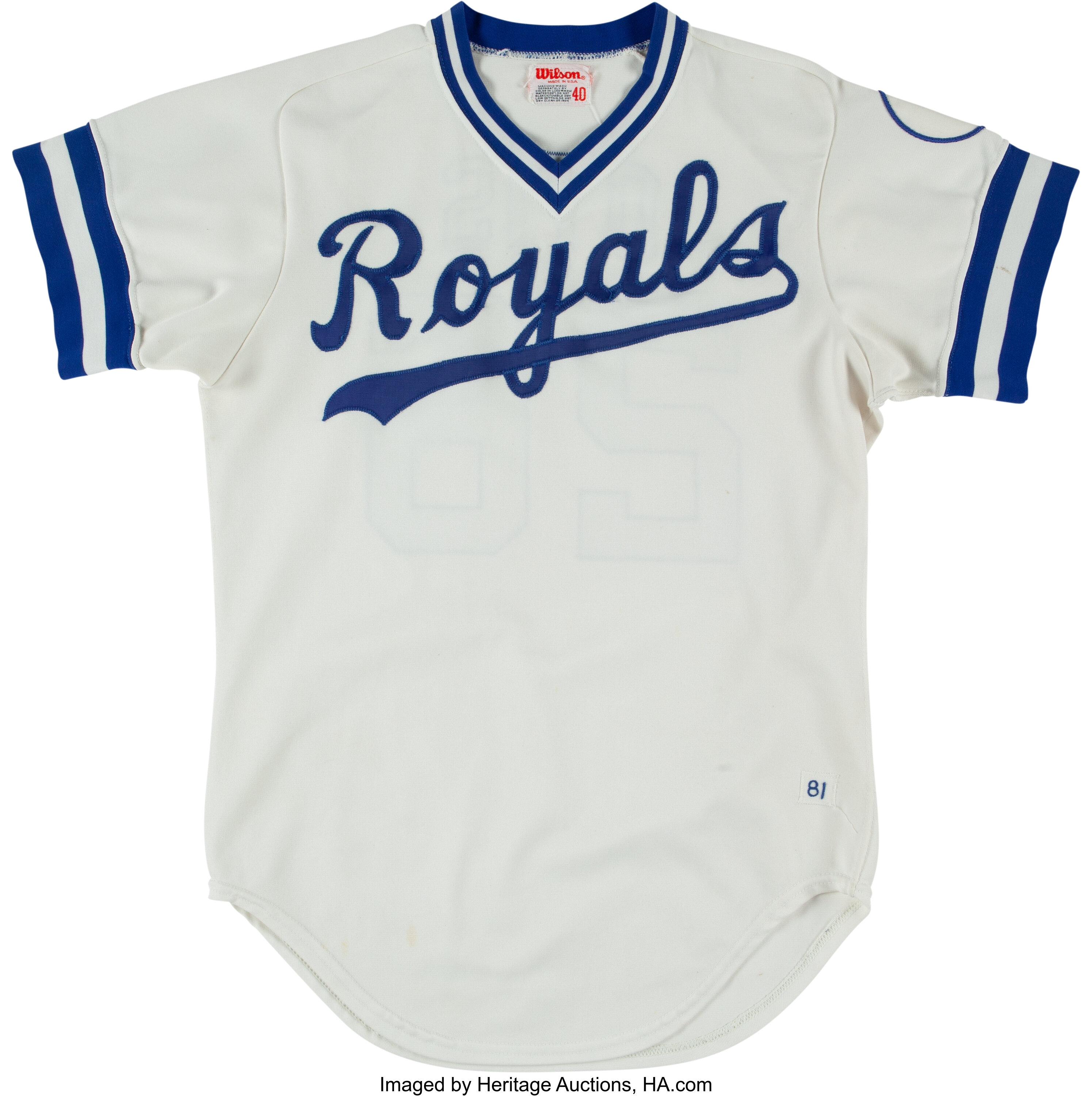 release date a62fe 131f8 1981 Amos Otis Game Worn Kansas City Royals Jersey from The ...