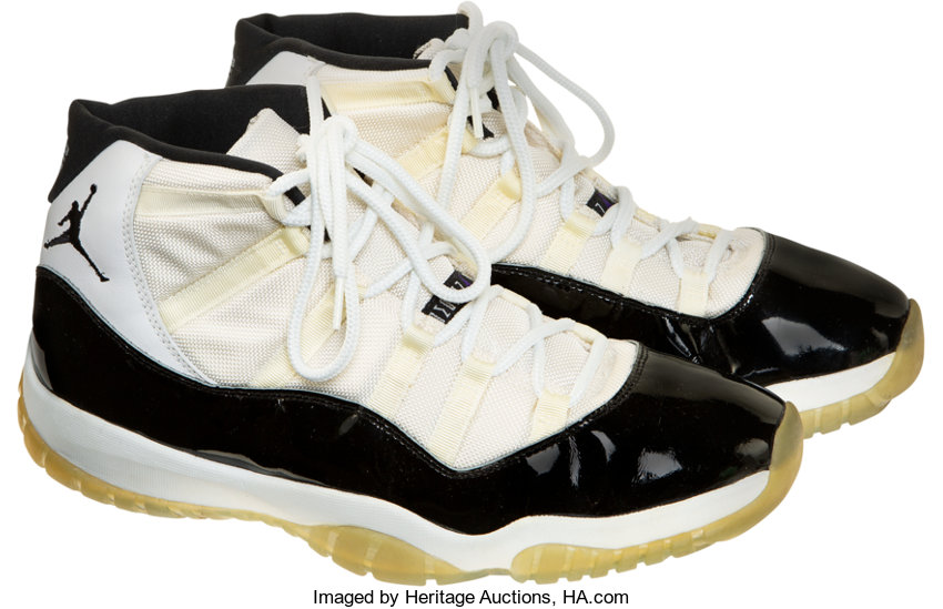 new style 62142 6ba5a 1995-96 Michael Jordan Game Worn & Signed Sneakers ...