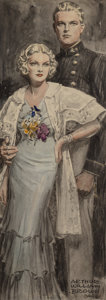 Other, Arthur William Brown (American, 1881-1966). Military Family, probable magazine interior illustration, 1934. Watercolor o...