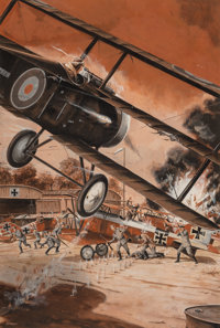 Bruce Minney (American, b. 1928) Flying Attack, probable magazine interior illustration Gouache on p