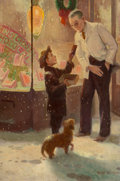 Paintings, Robert Robinson (American, 1886-1952). Christmas Chocolates. Oil on canvas. 21 x 14 in.. Signed lower right. ...
