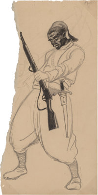Arthur Szyk (American, 1894-1951) Le Zouave africain Pencil on paper 12 x 6 in. (sheet) Not si