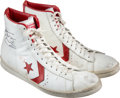 "Basketball Collectibles:Others, 1980-83 Julius Erving Game Worn & Signed Converse ""Pro Leather"" Sneakers...."