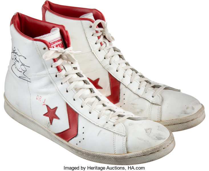 aab15645edc9 1980-83 Julius Erving Game Worn   Signed Converse