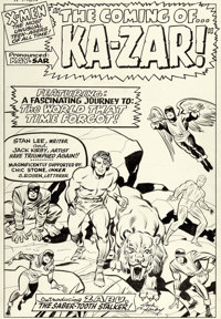 Jack Kirby and Chic Stone X-Men #10 Splash Page 1 Ka-Zar and Zabu Original Art (Marvel, 1965)