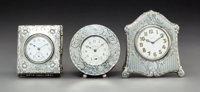 A Group of Three American Silver Easel-Back Desk Clocks, early 20th century Marks: (various) 4-1/8 x 3-3/4 x 0