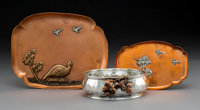 A Group of Three Gorham Mfg. Co. Aesthetic Movement Silver and Mixed Metals Table Pieces, Providence, Rhode Island, 1