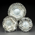 Silver Holloware, American:Bowls, Three American Art Nouveau Silver Bowls, circa 1920. Marks:(various). 2-3/4 x 9 x 9 inches (7.0 x 22.9 x 22.9 cm) (largest)...(Total: 3 Items)