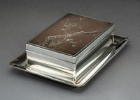 A Japanese Silver, Mixed Metals, and Nashiji Lacquered Table Box and Tray, Meiji-Taisho Period Marks: (jungin mark