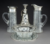 A Group of Five American Silver-Mounted Glass Items, late 19th-20th century Marks: (various) 11 x 6-1/2 x 4-5