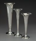 Silver Holloware, American:Vases, Three Tiffany & Co. Silver Trumpet Vases, New York...