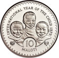 """Lesotho: Moshoeshoe II silver """"Year of the Child"""" Proof Piefort 10 Maloti 1979 PR67 Ultra Cameo NGC"""
