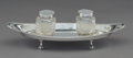 Silver Holloware, British:Holloware, A Martin, Hall & Co. Silver Inkstand with Silver-Mounted Glass Inkwells, Sheffield, 1897. Marks: RM EH, (crown), (lion p...