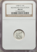 Barber Dimes, 1908-O 10C MS64 NGC. Ex: Richmond Collection. NGC Census: (28/24).PCGS Population: (27/42). CDN: $625 Whsle. Bid for probl...