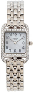 Timepieces:Wristwatch, Hermes, Cape Cod 18k Ladies White Gold and Diamond, Ref. CC1.192,Circa 1990s. ...