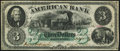 Obsoletes By State:Maryland, Baltimore, MD- American Bank $3 Dec. 1, 1863. ...