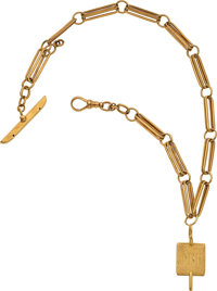 Antique 14k Yellow Gold Watch Chain & Fob