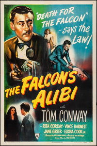 "The Falcon's Alibi (RKO, 1945). One Sheet (27"" X 41"") Style A. Mystery"