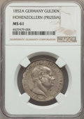 German States:Hohenzollern, under Prussia, German States: Hohenzollern, under Prussia. Friedrich Wilhelm IV Gulden 1852-A MS61 NGC,...
