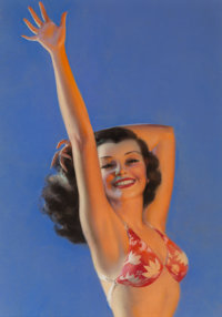 Rolf Armstrong (American, 1889-1960) Come On In, Brown & Bigelow calendar illustration, 1941 Pastel