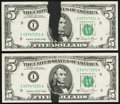Error Notes:Ink Smears, Ink Smear on Face Error Fr. 1977-I $5 1981A Federal Reserve Notes. Two Examples. Very Fine-Extremely Fine or Better.. ... (Total: 2 notes)