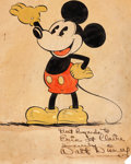 Animation Art:Production Drawing, Mickey Mouse Early Publicity Artwork Signed by Walt Disney...