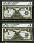 Large Size:Silver Certificates, Fr. 230 $1 1899 Silver Certificate PMG Choice Extremely Fine 45.Two Examples.. ... (Total: 2 notes)