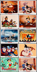 "Movie Posters:Animation, Pinocchio (Buena Vista, R-1971). Lobby Card Set of 9 & Lobby Card (11"" X 14""). Animation.. ... (Total: 10 Items)"
