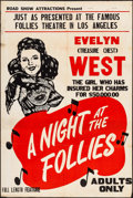 "Movie Posters:Sexploitation, A Night at the Follies (Roadshow Attractions, 1947). One Sheet (28""X 42""). Sexploitation.. ..."