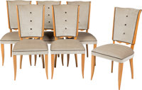 Six French Art Deco Sycamore and Velvet Dining Chairs, circa 1930 40-1/2 x 19 x 20 inches (102.9 x 48.3 x 50.8 cm)
