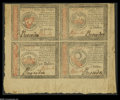 Colonial Notes:Continental Congress Issues, Continental Currency January 14, 1779 $55, $35, $50, $30 Block of Four About New. There is a central fold between notes that...