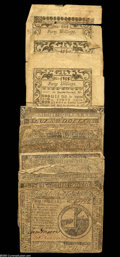 Colonial Notes:Continental Congress Issues, Continental and Colonial Group Lot. This lot consists of 15Continentals mostly in VG or so, with one note split in half... (22notes)