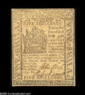 Colonial Notes:Delaware, Delaware May 1, 1777 5s Extremely Fine. A nice, evenly circulatedexample of this scarcer issue....