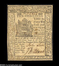 Colonial Notes:Delaware, Delaware May 1, 1777 10s Extremely Fine-About New. Really nice looking from the face with a few minor stains on the back....