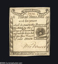 Colonial Notes:Massachusetts, Massachusetts 1779 3s/6d Choice About New. A beautiful example of the Rising Sun design, which was both engraved and printed...