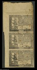 Colonial Notes:Virginia, Virginia October 20, 1777 $6, $4, $8 Strip of Three About New. Withthe exception of the 1780 Guaranteed Issue, Virginia mul...